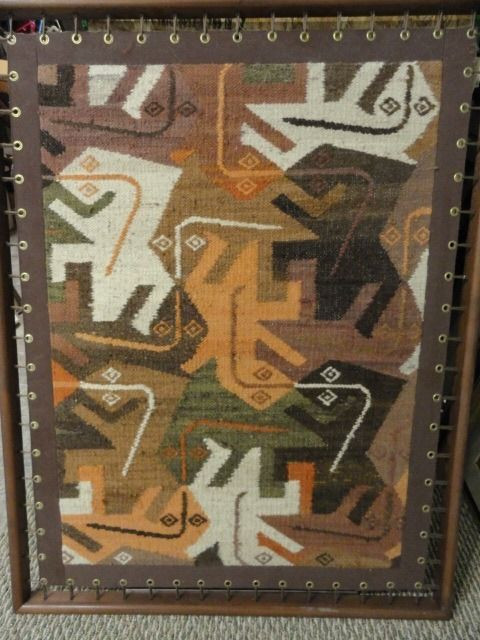 "Vintage 1970's Hand Woven ""Leaping Lizards"" Wool Intricate Wall Hanging Framed"
