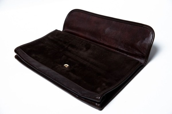 Vintage MM MORRIS MOSKOWITZ Brown Leather Suede Clutch Purse Two Tone Preowned