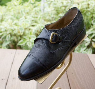 Vtg Men's DOMANI JOHNSON & MURPHY Black Leather Dress Shoe Size 8 Italy