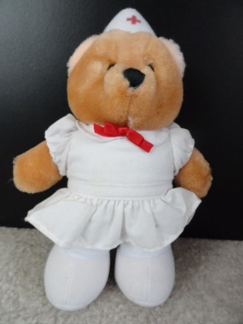 "1985 R. Dakin & Co Nurse Bear White Uniform Hat Red Bow 7.5"" Great Condition"