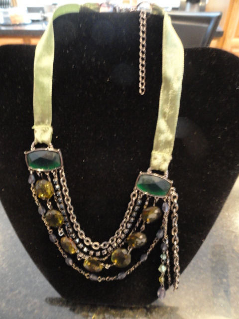 Costume Fashion Necklace Claw Closure Green Ribbon Faux Green Stones 5 Layers