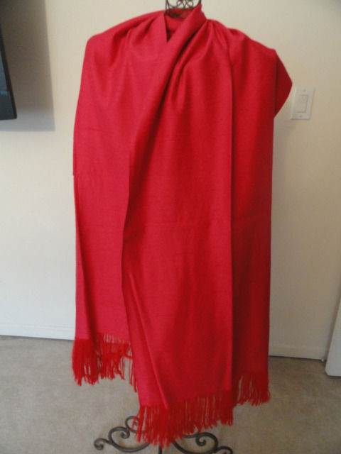 Vintage 1950's Hot Pink Raw Silk Handmade Shawl Dbl Sided Magnificent Preowned