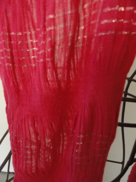 """Vintage Hot Pink Puckered With Silver Accents Scarf 3"""" Fringe China 100% Rayon"""