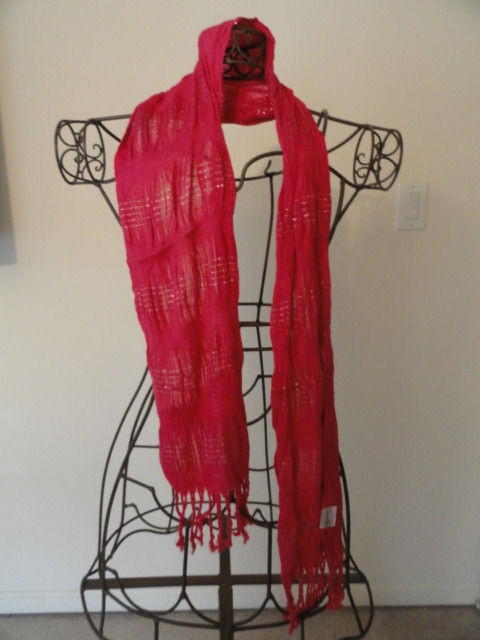 "Vintage Hot Pink Puckered With Silver Accents Scarf 3"" Fringe China 100% Rayon"
