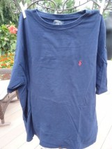 Polo Ralph Lauren Blue Short Sleeve T-Shirt Red Logo Large Preowned Ex Cond