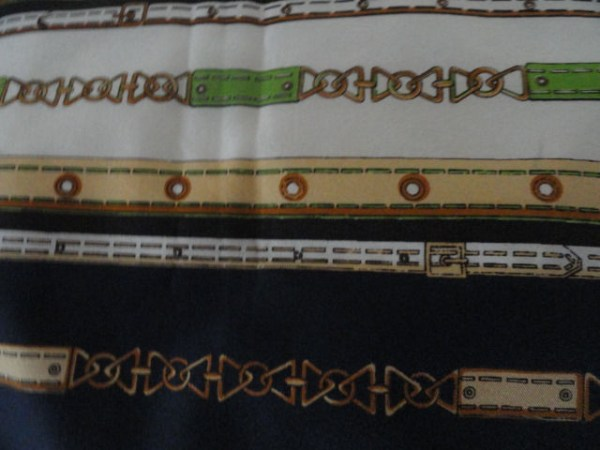Vintage 1970's Cable Belt Links Pattern Scarf Navy Greens Beige Acetate No Tag