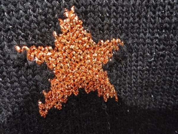 Vintage 1970's CROCHETTA Designs Black Metallic Star Sweater Blue Bronze White S