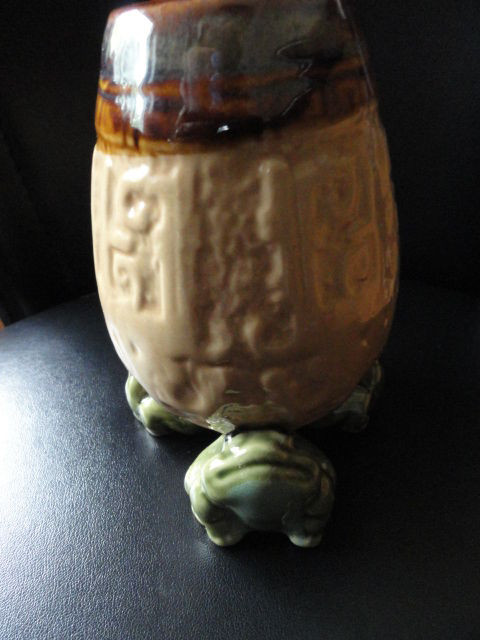 "Handmade Frog Vase Pottery Aztec Pattern Hand Glazed 5"" Not Marked Excellent Con"