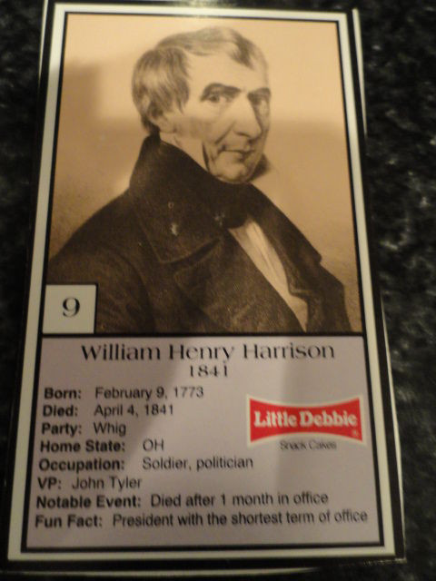 Vintage Little Debbie 1992 Presidential Trading Card #9 William Henry Harrison