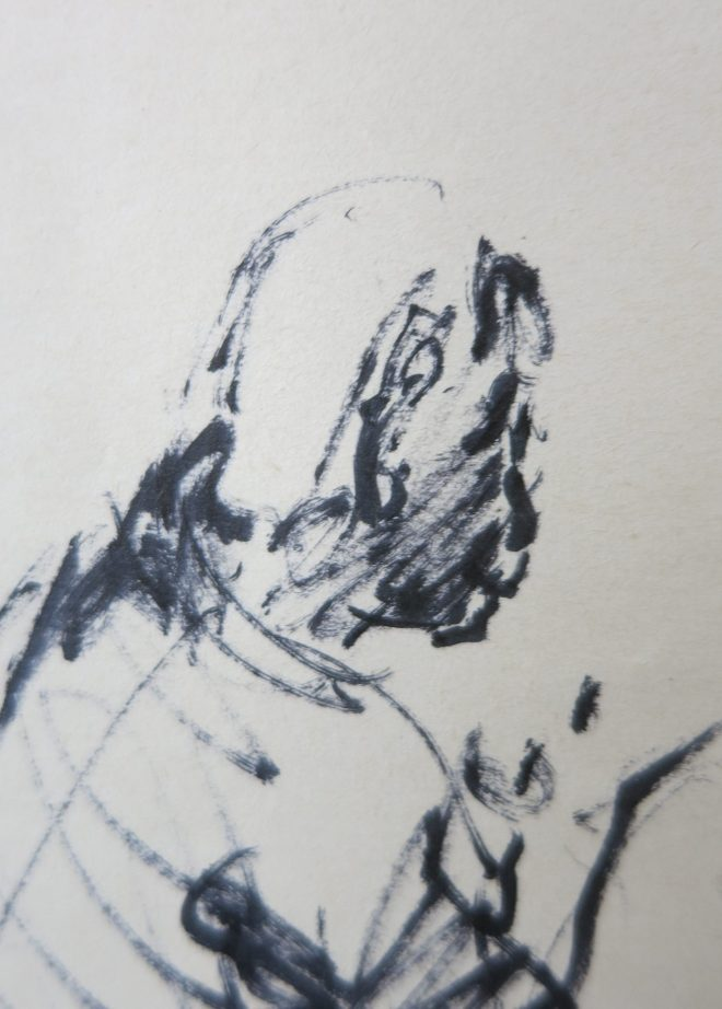 detail of a sketch of a monk