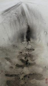 meditative landscape ink on glossy paper