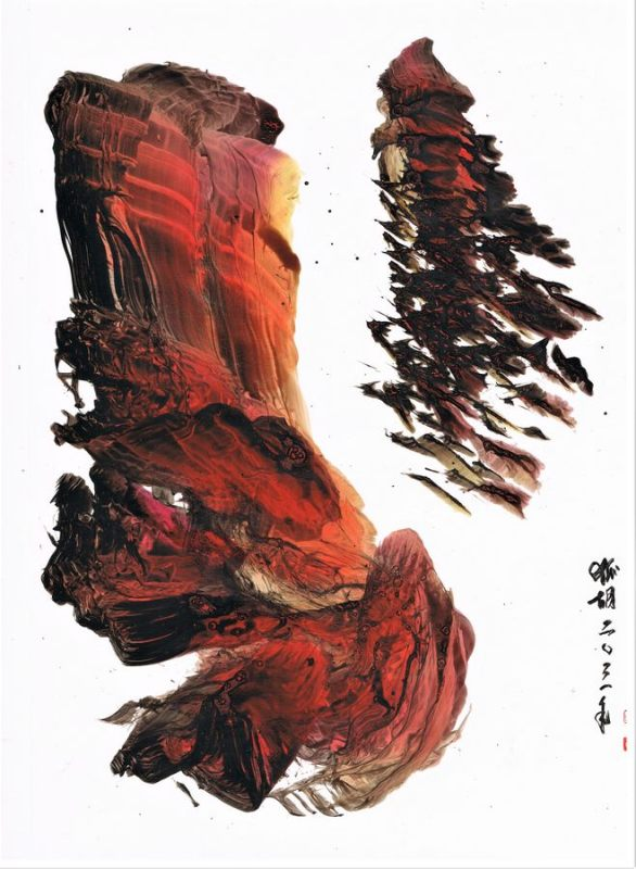gestural abstraction landscape red and black