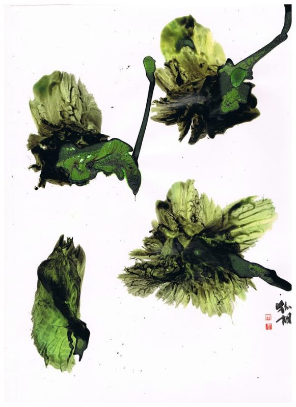 graphic with four green buds on glossy paper