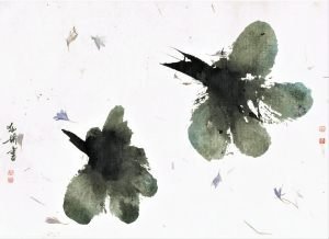 graphic with two blossoms ink painting on hemp paper