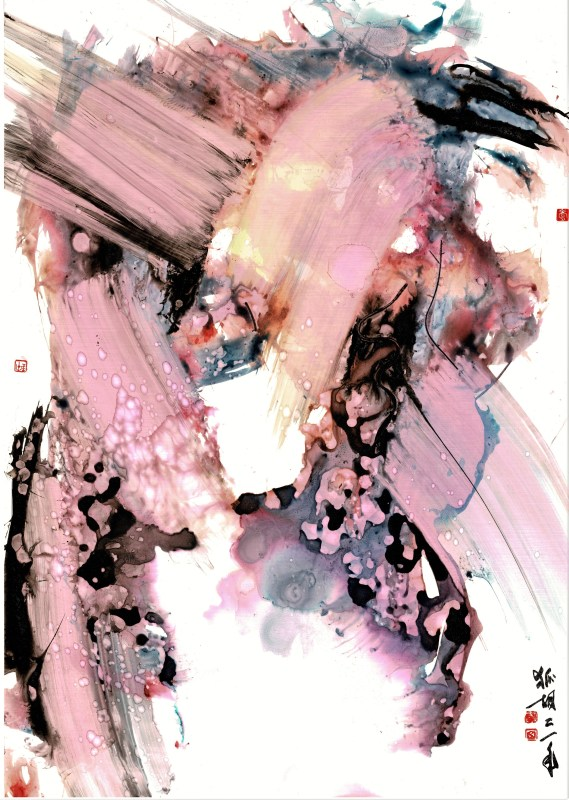 abstraction in pink ink on synthetic paper
