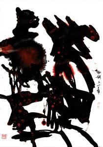 white black red gestural art