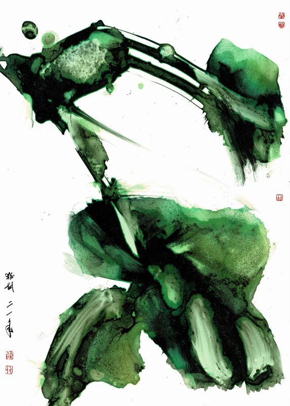 gestural composition ink on paper
