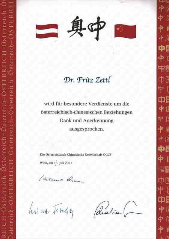 certificate of honor friedrich zettl