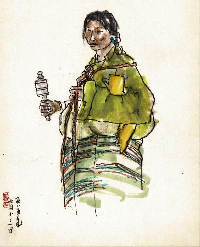 Friedrich Zettl sketchbook with lady from Tibet