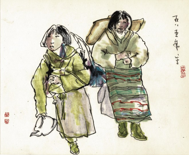 Friedrich Zettl early sketchbook with chinese minority ladies