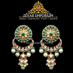 Pacchi Setting Uncut Diamond Jhumka Earrings
