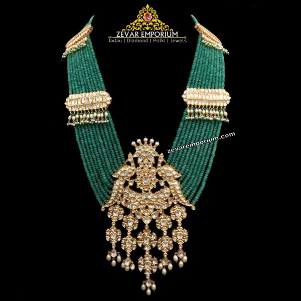 Traditional peacock necklace in polki