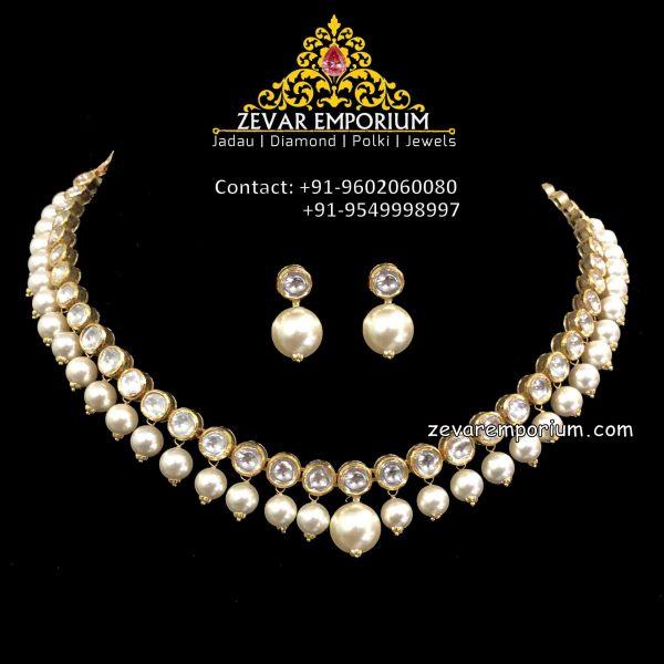 single string polki necklace in 18k gold