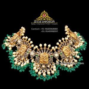 22k uncut ganesha nakshi temple jewellery necklace