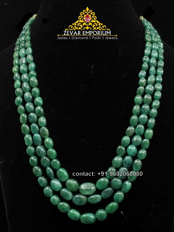 Green Beryl Emeralds Nugget 3 Strings beads Necklace