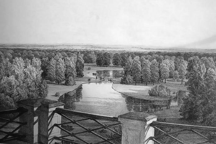 Pogled s Vidikovca na Gornje i Donje jezero. Litografija Ivana Zaschea iz 1852.