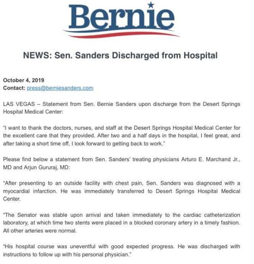 Bernie Sanders Released From Hospital After Suffering Heart Attack