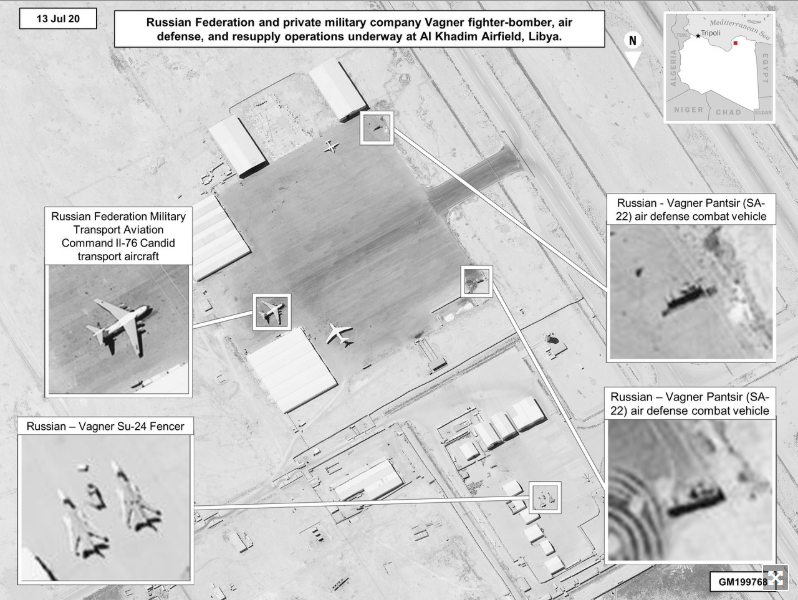 New DoD released satellite imagery showing alleged Russian military hardware on the ground at al Khadim Airfield, Libya. Source: Defense.gov