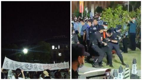視頻直擊:中國多所學院示威事件 學生被打頭破血流
