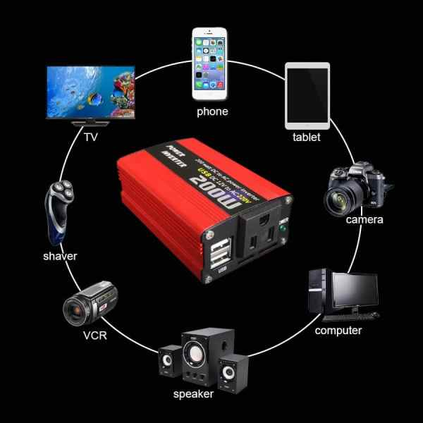 200W car power inverter usb charger adapter 150W portable auto modified 180W 6