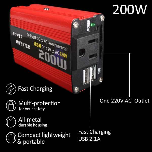 200W car power inverter usb charger adapter 150W portable auto modified 180W 3
