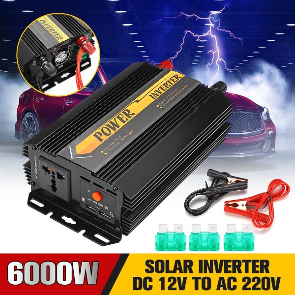 Dual USB Max 6000 Watts 3000W Power Inverter DC 12 V to AC 220 Volt Car Adapter Charge Converter Modified Sine Wave Transformer 1