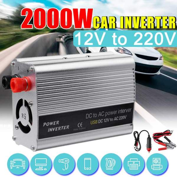 KROAK 2000W DC 12V to AC 220V USB Car Power Inverter Charger Converter Adapter DC 12 to AC 220 Modified Sine Wave Transformer 1