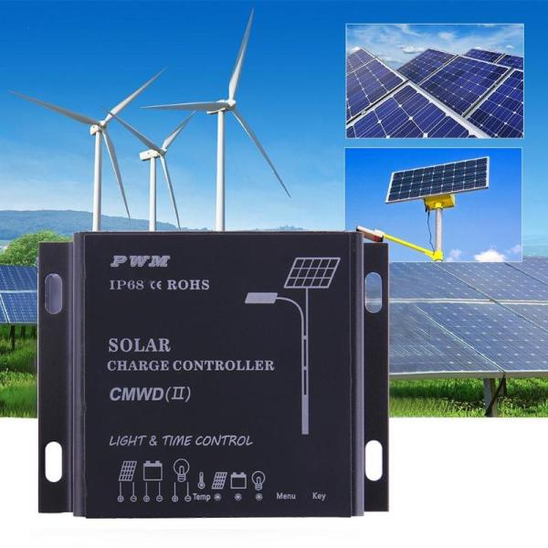 Waterproof IP68 LED 10A/20A PWM Solar Panel Charge Regulator Controller 12-24V Auto Switch Timer with Auto,Manua,Debug Mode 3