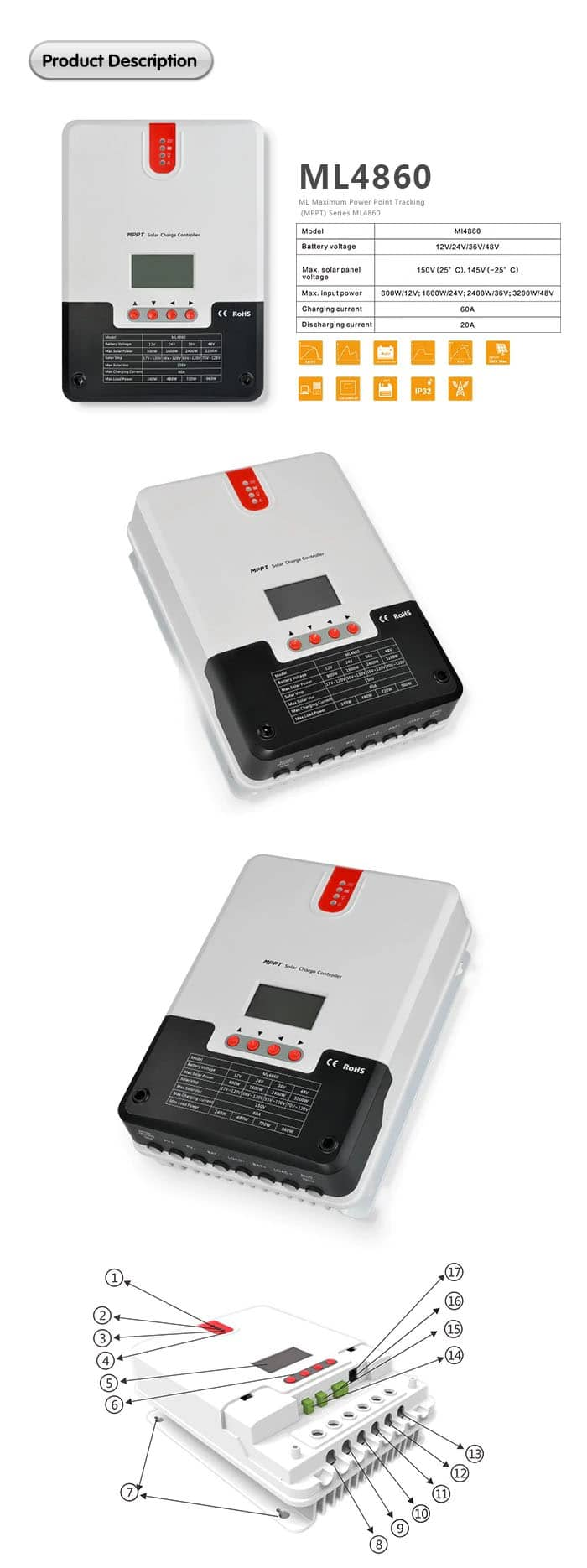 srne 60a mppt charge controller overview