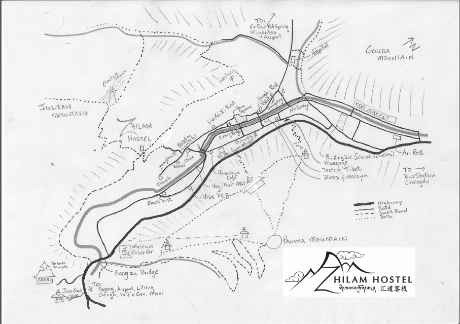 tibet in china an alternate way to experience tibet When to Travel to Tibet this hand drawn map from zhilam hostel
