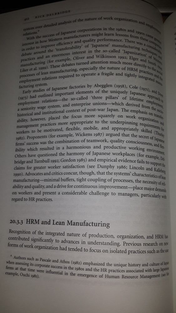 The Oxford Handbook of HRM Overview. Lean Manufacturing & HRM (4/6)