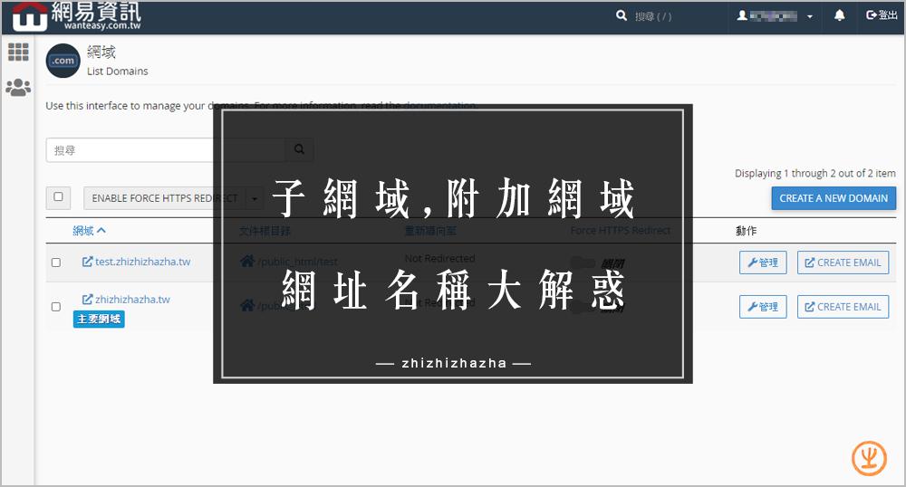 子網域 附加網域 、子目錄、網域寄放 名稱大解惑!