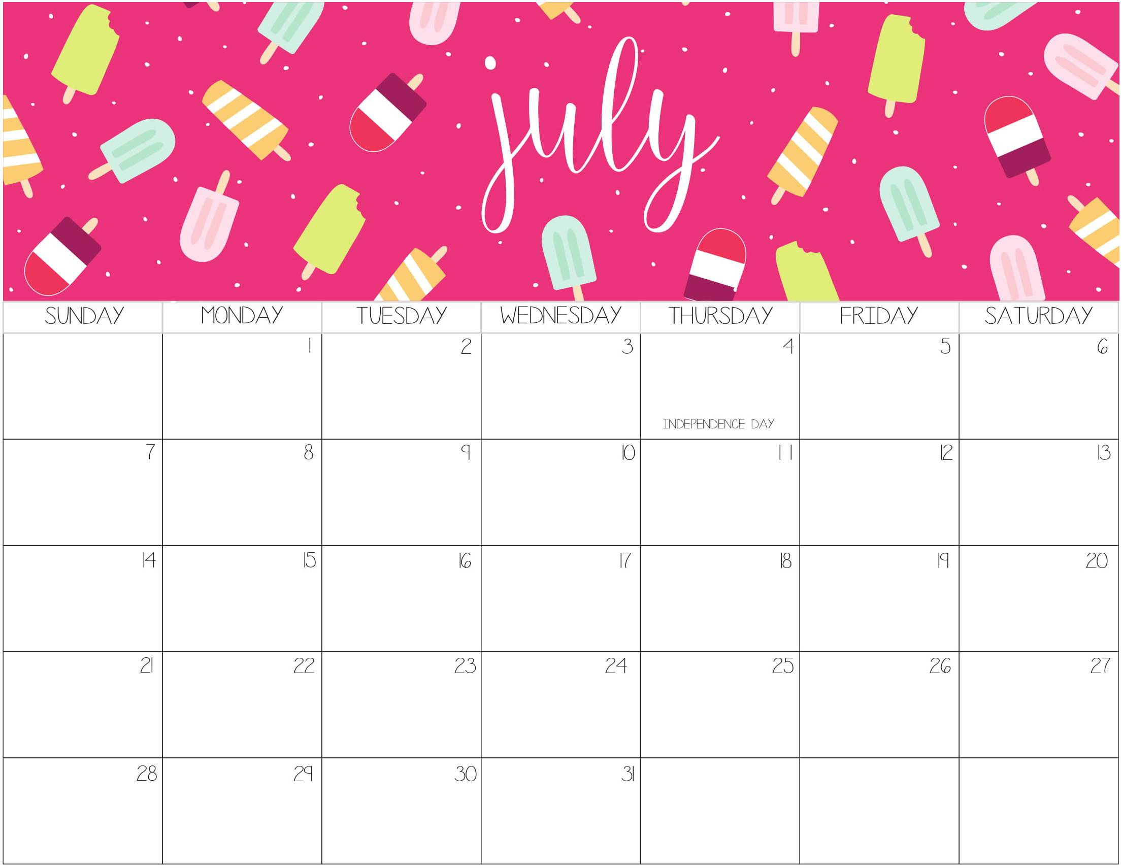 Cute July 2019 Calendar Template Download Free Printable Calendar Blank Calendar Templates