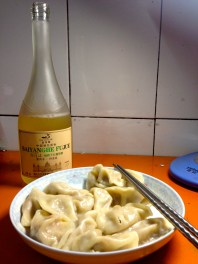 New Year's dinner... I even took the trouble to make some dumplings instead of instant noodles