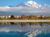 View from my hostel: Jade Dragon Snow Mountain and the Qingxi Reservoir