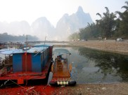 The next day, a group of us set out to cruise down the Li River, you can see the remains of last nights celebrations in this picture