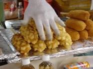 Puffed rice treats and something like a corn dog.