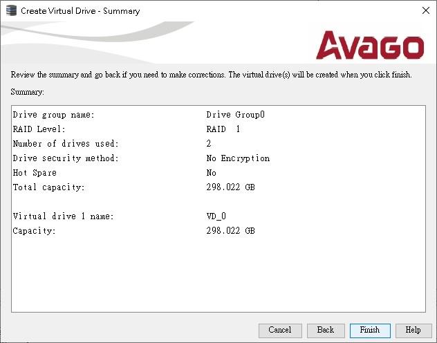 z_Create Virtual Drive_Raid 1_2_Finish