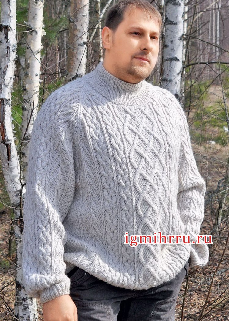 Мужской пуловер джемпер вязание спицами 522