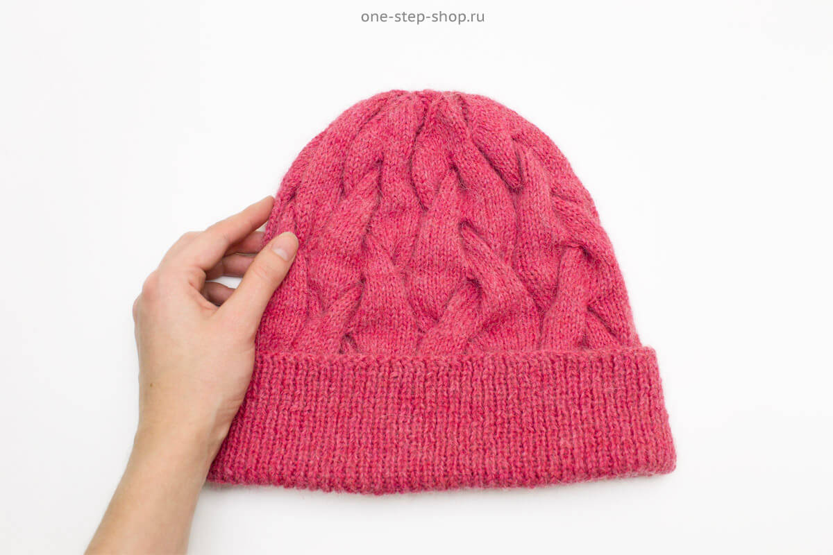 шапка косами с подворотом вязание спицами журнал
